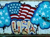 Patriotic Neighborhood Mural Of Graffiti Flag
