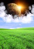 Vertical background with Maya calendar and summer landscape