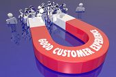 Good Customer Experience Magnet Attracting Customers 3d Illustration poster