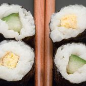 Japanese Sushi With Chopsticks
