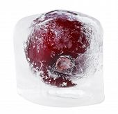 picture of ice-cubes  - Red sweet cherry inside of melting ice cube isolated on white - JPG