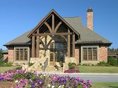 image of model home  - Luxury Home Exterior front view against blue sky - JPG