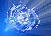 Raios de luz no espaço azul, criando um holograma radial - Ramblas itechnology abstrata. Eps1