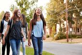 Four young teen girls walking to school, front view close up poster