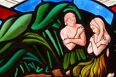 picture of adam eve  - Stained Glass window segment of Adam and Eve in the Garden of Eden - JPG