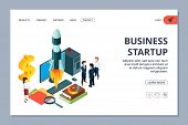 Business Startup Landing Page. Vector Isometric Young Business Team And Rocket. Successful Startup W poster
