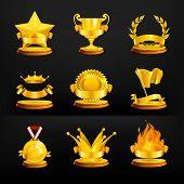 Gold awards, vector set on black