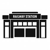 Glass Railway Station Icon. Simple Illustration Of Glass Railway Station Vector Icon For Web Design  poster