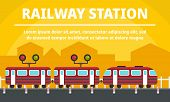 City Railway Station Concept Banner. Flat Illustration Of City Railway Station Vector Concept Banner poster
