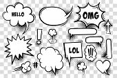 Comic Text Speech Bubble Pop Art Style. Set Of White Cloud Talk Speech Bubble. Isolated White Speech poster