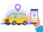 Carsharing Concept. Car Rental Service Via Mobile App. A Hand Holding Smartphone With An App To Find poster