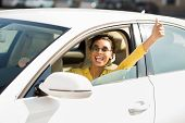Get Driving License. Happy Woman Showing Thumb Up Gesture, Driving Car poster