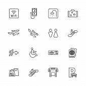 Airport, Traveler Outline Icons Set - Black Symbol On White Background. Airport, Traveler Simple Ill poster