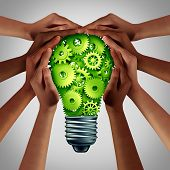 Electric Power Concept And Energy Efficiency Idea As A Green Solution With Diverse Hands Holding A L poster
