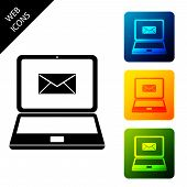 Laptop With Envelope And Open Email On Screen Icon Isolated. Email Marketing, Internet Advertising C poster