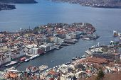Overview over the port in Bergen