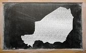 Outline Map Of Niger On Blackboard