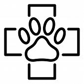 Paw In The Medical Cross Icon. Outline Paw In The Medical Cross Vector Icon For Web Design Isolated  poster