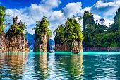 Beautiful Mountains In Ratchaprapha Dam At Khao Sok National Park, Surat Thani Province, Thailand. poster