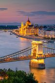 Budapest, Hungary. Aerial Cityscape Image Of Budapest With Szechenyi Chain Bridge And Parliament Bui poster