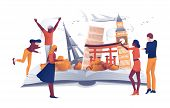 Cartoon People Near Open Book Famous Landmarks Vector Illustration. Man Woman Traveler. Travel Aroun poster