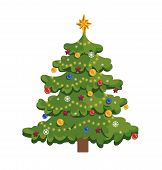 Christmas Tree Flat Vector Illustration. New Year Evergreen Spruce Isolated Clipart. Decorated Fir W poster