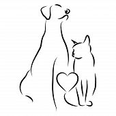 Veterinary Logo. Illustration For Pet Shop. Drawing With Pets. Stylized Logo With A Dog And A Cat. poster