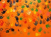 Multiple Colored Hand Prints