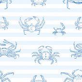 Crayfish Vector Seamless Pattern. Sea Animals, Marine Crabs On Striped Background. Restaurant Seafoo poster