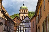 Medieval Small Town Kaysersberg , Region Alsace. France. Roofs Of Ancient Colorful  Half-timbered Ho poster