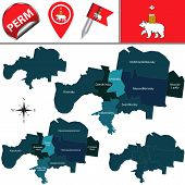 Vector Map Of Perm, Russia With Named Districts. There Is Variation Of Map Where Districts Are Signe poster