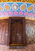 The Temple In Kandy City, Sri Lanka. The Door Made From The Wood. poster