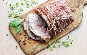 Homemade Baked Pork Ham With Aromatic Herbs. Festive Traditional Dish And Keto Diet Food. poster
