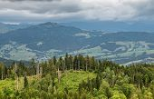 View From The Top Of The Mountain Landscape, Forests, Pastures, Meadows And Small Villages With A Cl poster