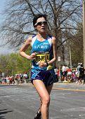 Mayumi Fujita (Japan) races up Heartbreak Hill during the Boston Marathon