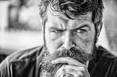 Making Hard Decision. Man With Beard And Mustache Thoughtful Troubled. Bearded Man Concentrated Face poster