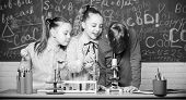 Chemistry Science. Little Kids Earning Chemistry In School Lab. Biology Experiments With Microscope. poster