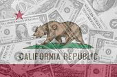 Us State Of California Flag With Transparent Dollar Banknotes In Background