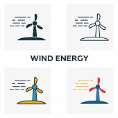 Wind Energy Icon Set. Four Elements In Diferent Styles From Power And Energy Icons Collection. Creat poster