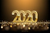 2020 New Year Luxury Design Concept. Vector Golden 2020 New Year Horizontal Template With Golden Gli poster