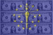 Us State Of Indiana Flag With Transparent Dollar Banknotes In Background