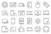 Mobile Device Line Icons. Laptop, Tablet Pc And Smartphone Icons. Hdd, Ssd And Flash Drive. Headphon poster