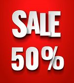 Sale 50 Persent Typographic Inscription With Drop Shadow On Red Background. Discount Offer Price Lab poster
