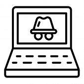 Laptop Hacker Attack Icon. Outline Laptop Hacker Attack Vector Icon For Web Design Isolated On White poster