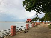 Concrete Barrier And Walkway Near The Sea At Phatthalung, Thailand poster