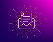 Mail Correspondence Line Icon. Halftone Pattern. Read Message Sign. E-mail Symbol. Gradient Backgrou poster