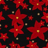 Christmas Holiday Season Seamless Pattern Of Red Poinsettia, Christmas Flowers And Star For Greeting poster