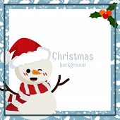 Christmas Holiday Season Background Of Snowman Wearing Santa Hat With Copy Space. Design For Greetin poster