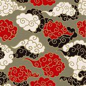 Chinese Clouds Smoke Vector Seamless Pattern. Japanese, Oriental Style Textile Ornament. Golden Outl poster