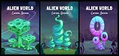 Fantastic Backgrounds Collection. Fantasy Cartoon Alien World Landscape With Shiny Plants poster